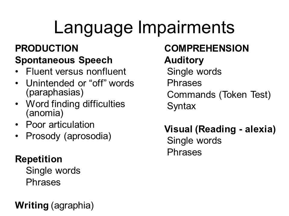Language Impairments PRODUCTION Spontaneous Speech Fluent versus nonfluent Unintended or off words (paraphasias) Word finding difficulties (anomia) Poor articulation Prosody (aprosodia) Repetition Single words Phrases Writing (agraphia) COMPREHENSION Auditory Single words Phrases Commands (Token Test) Syntax Visual (Reading - alexia) Single words Phrases