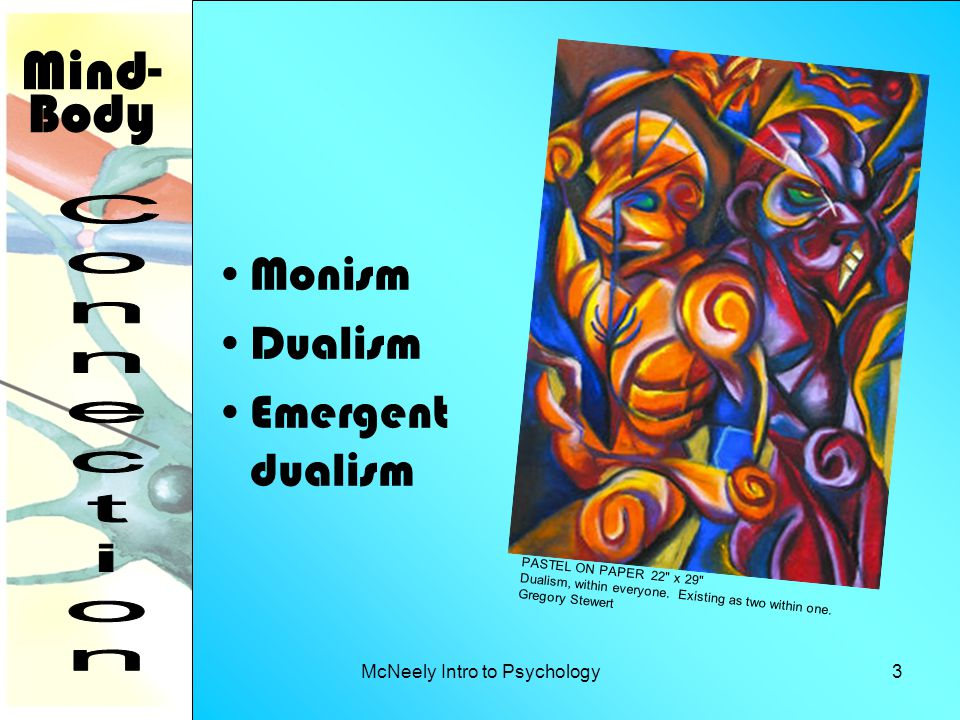 McNeely Intro to Psychology3 Monism Dualism Emergent dualism Mind- Body PASTEL ON PAPER 22 x 29 Dualism, within everyone.