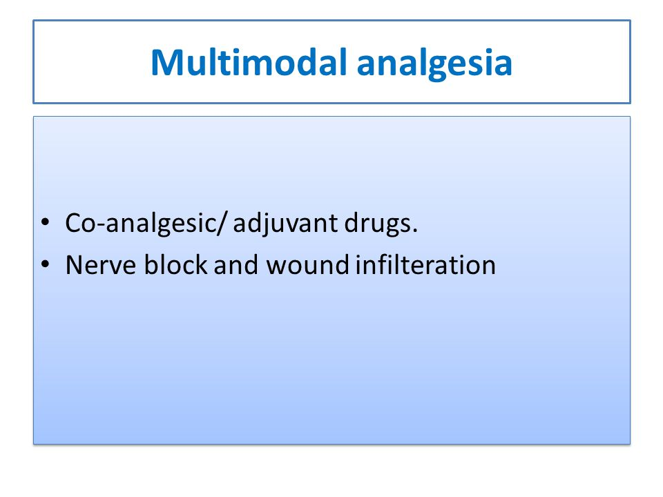 Multimodal analgesia Co-analgesic/ adjuvant drugs. Nerve block and wound infilteration Co-analgesic/ adjuvant drugs. Nerve block and wound infilterati