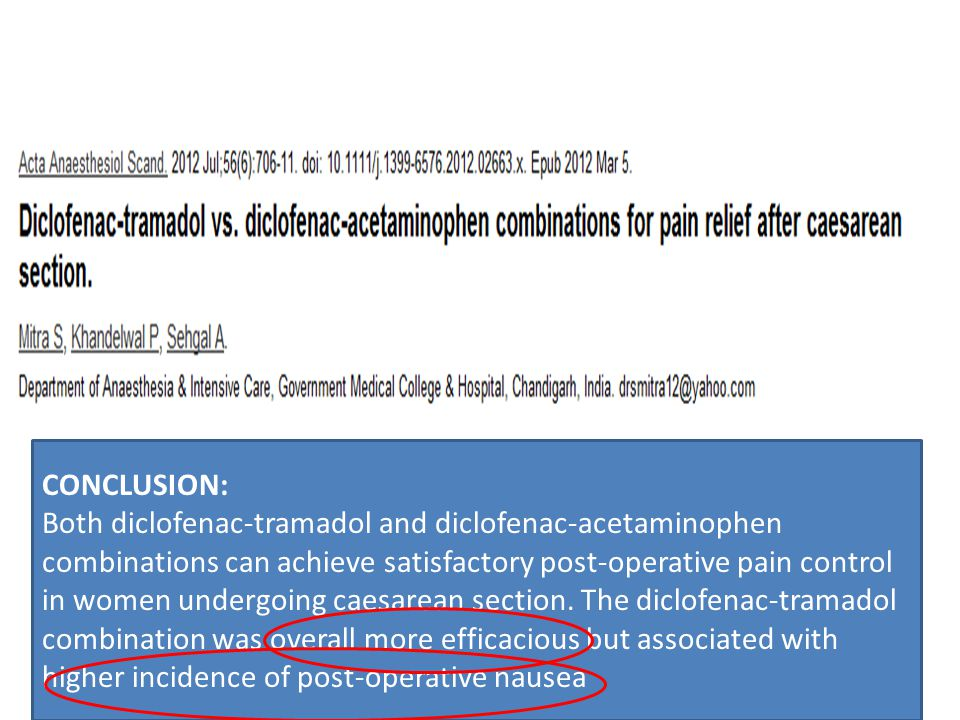 CONCLUSION: Both diclofenac-tramadol and diclofenac-acetaminophen combinations can achieve satisfactory post-operative pain control in women undergoing caesarean section.