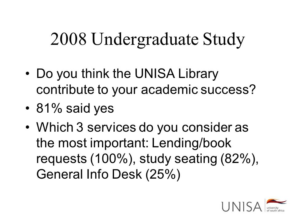 2008 Undergraduate Study Do you think the UNISA Library contribute to your academic success? 81% said yes Which 3 services do you consider as the most