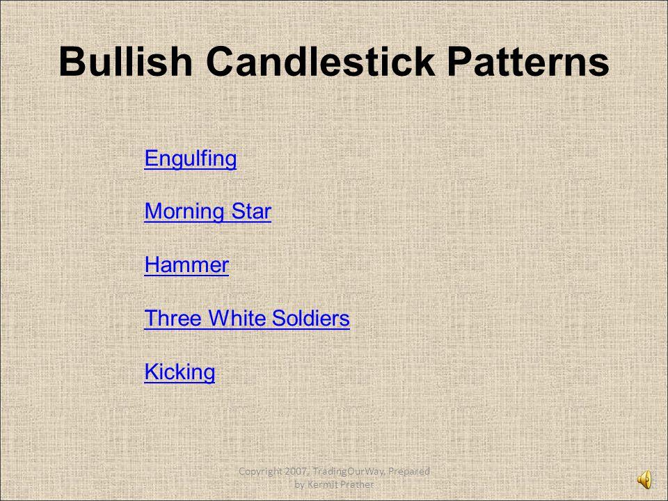Bullish Candlestick Patterns Engulfing Morning Star Hammer Three White Soldiers Kicking Copyright 2007, TradingOurWay, Prepared by Kermit Prather