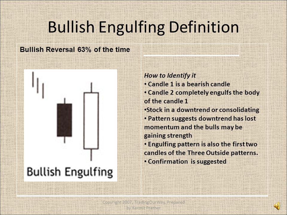 Bullish Engulfing Definition Bullish Reversal 63% of the time How to Identify it Candle 1 is a bearish candle Candle 2 completely engulfs the body of