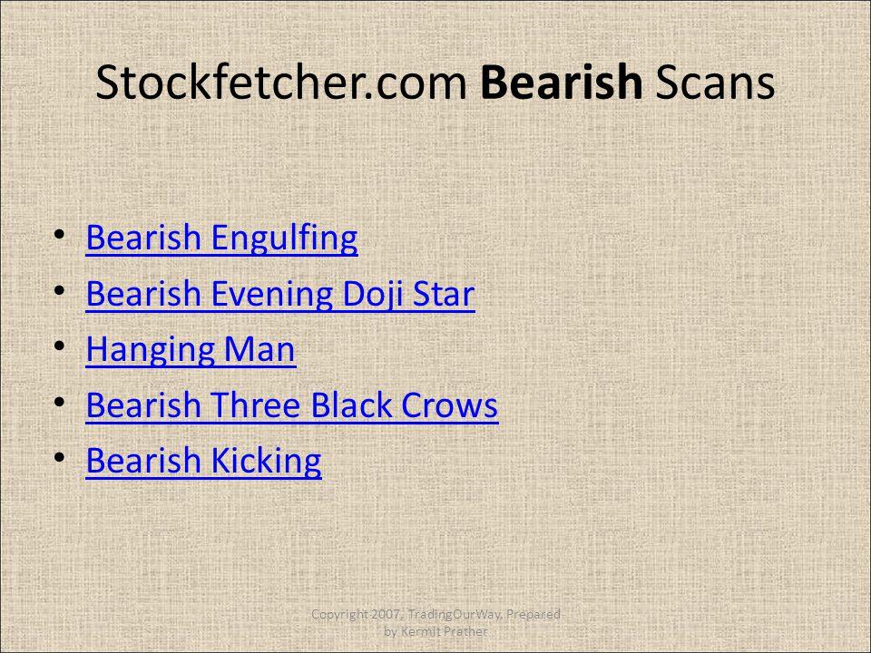 Stockfetcher.com Bearish Scans Bearish Engulfing Bearish Evening Doji Star Hanging Man Bearish Three Black Crows Bearish Kicking Copyright 2007, Tradi