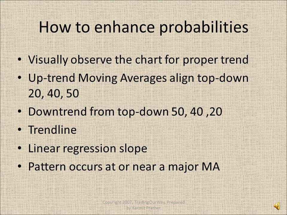 How to enhance probabilities Visually observe the chart for proper trend Up-trend Moving Averages align top-down 20, 40, 50 Downtrend from top-down 50