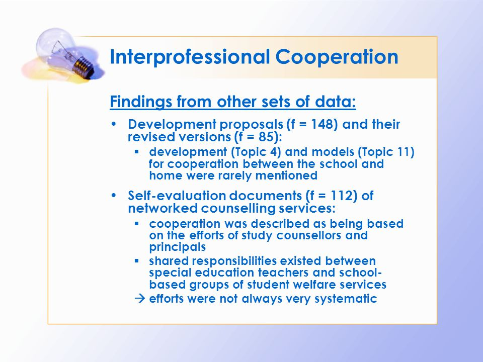 Interprofessional Cooperation Findings from other sets of data: Development proposals (f = 148) and their revised versions (f = 85):  development (To
