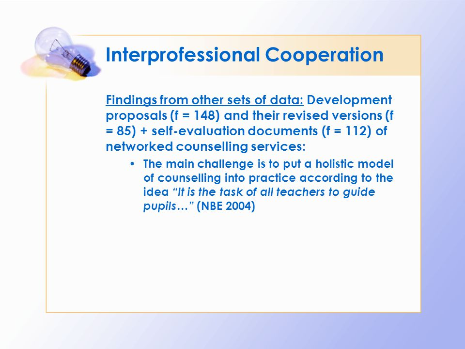 Interprofessional Cooperation Findings from other sets of data: Development proposals (f = 148) and their revised versions (f = 85) + self-evaluation
