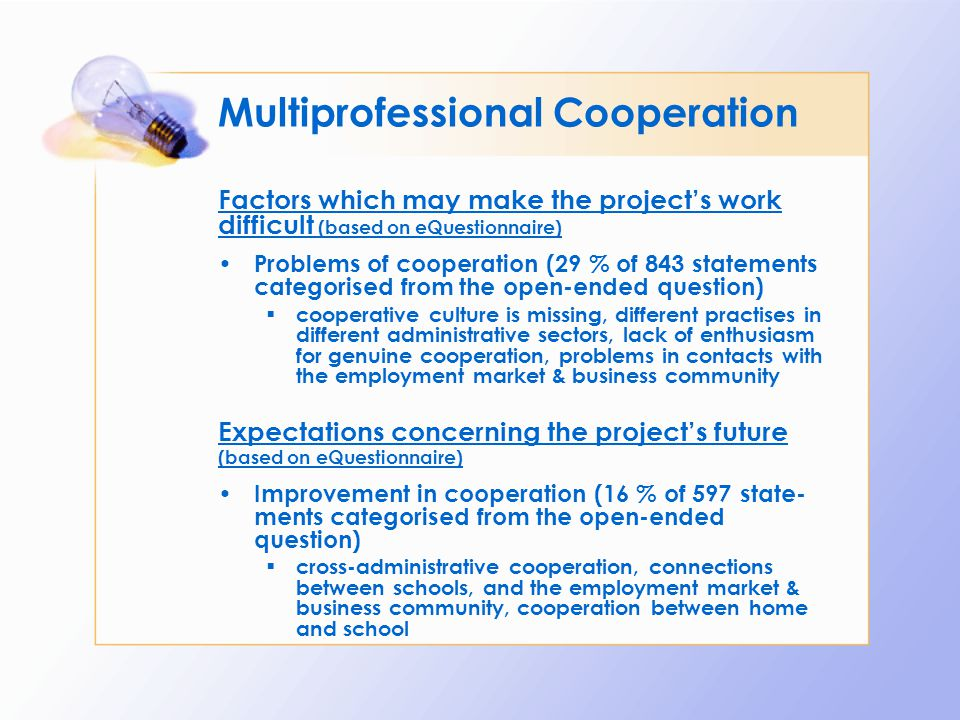 Multiprofessional Cooperation Factors which may make the project's work difficult (based on eQuestionnaire) Problems of cooperation (29 % of 843 state