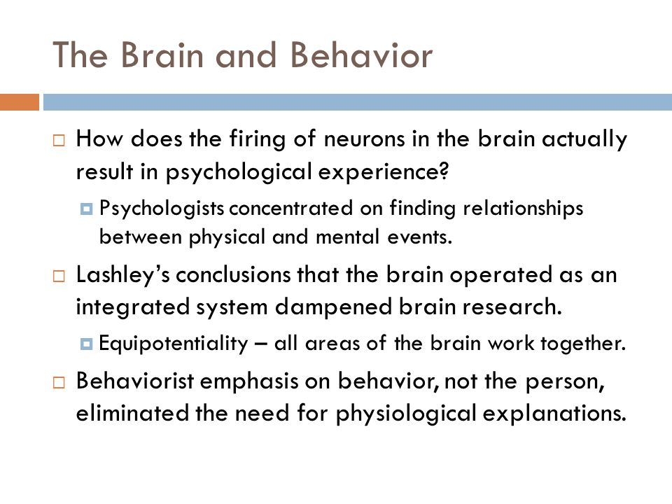 The Brain and Behavior  How does the firing of neurons in the brain actually result in psychological experience.