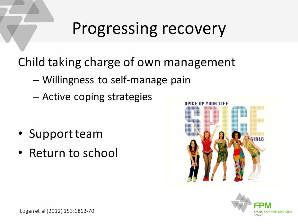 Progressing recovery Child taking charge of own management – Willingness to self-manage pain – Active coping strategies Support team Return to school