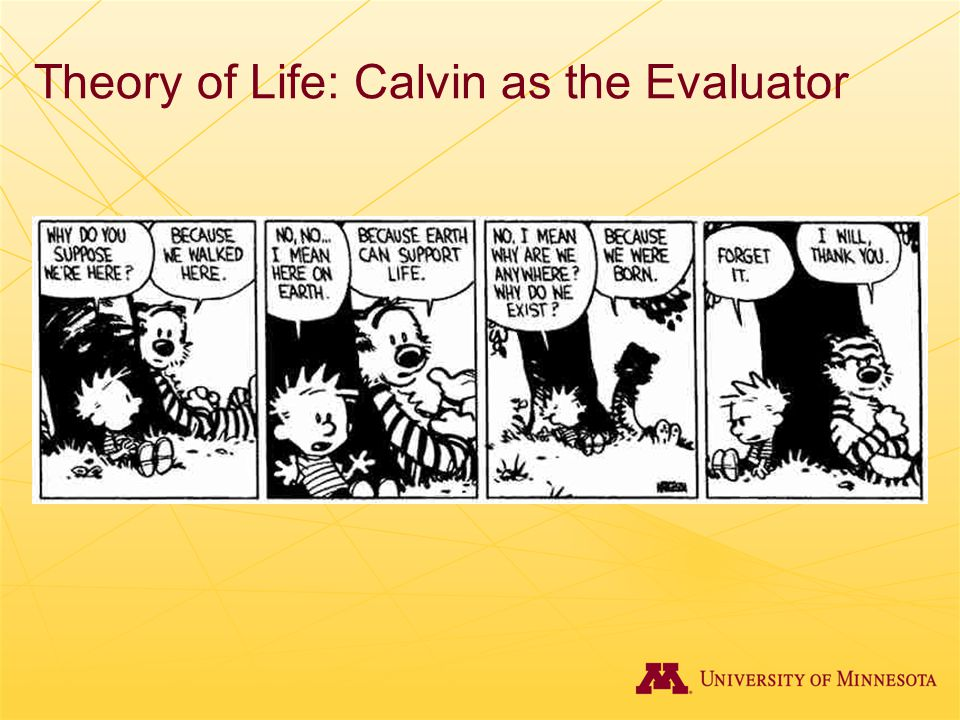 Theory of Life: Calvin as the Evaluator