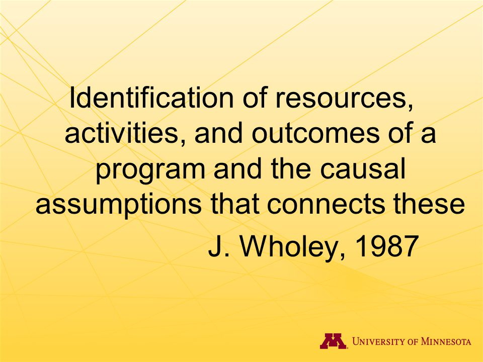 Identification of resources, activities, and outcomes of a program and the causal assumptions that connects these J.
