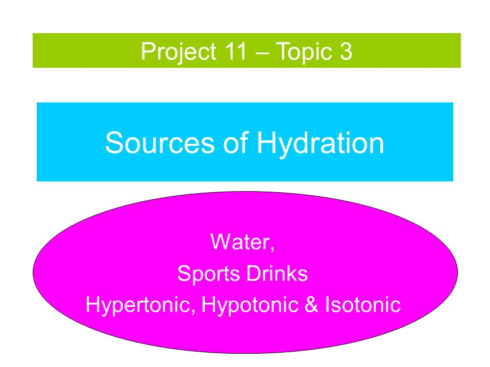 Sources of Hydration Water, Sports Drinks Hypertonic, Hypotonic & Isotonic Project 11 – Topic 3