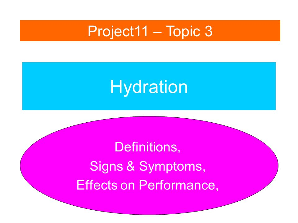 Dehydration – Hypohydration – Hyperhydration - Superhydration Decreases performance Increases performance Euhydration (normal body water levels) The different levels of hydration.