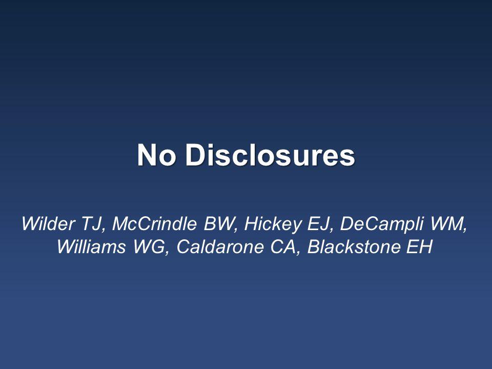 No Disclosures Wilder TJ, McCrindle BW, Hickey EJ, DeCampli WM, Williams WG, Caldarone CA, Blackstone EH