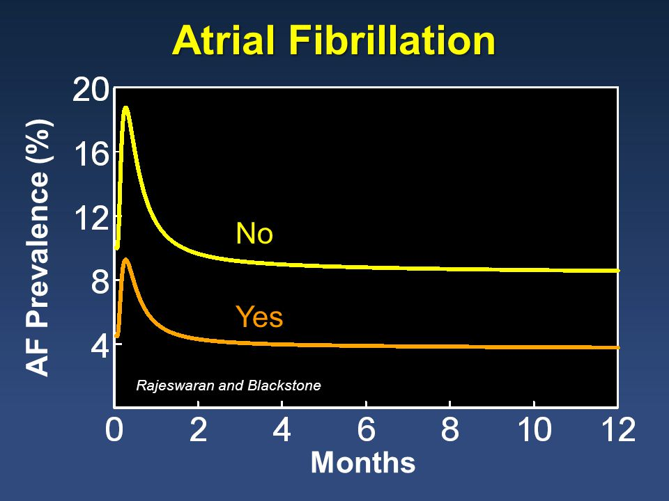 AF Prevalence (%) Months CABG No Yes Atrial Fibrillation Rajeswaran and Blackstone