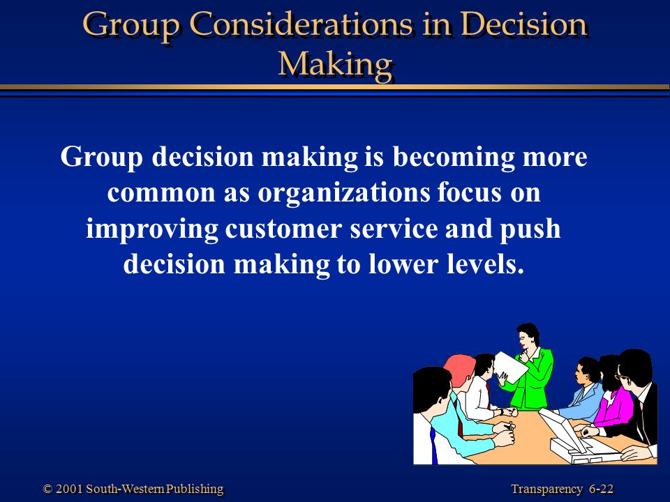Transparency 6-22 © 2001 South-Western Publishing Group Considerations in Decision Making Group decision making is becoming more common as organizatio