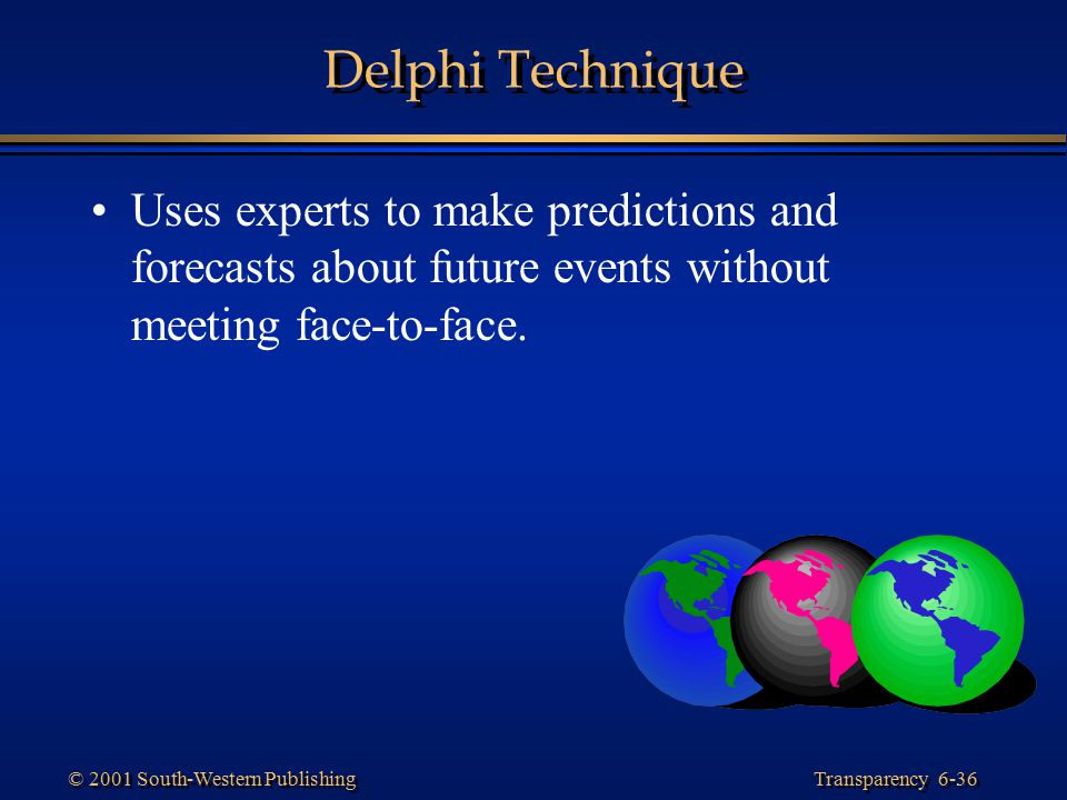 Transparency 6-36 © 2001 South-Western Publishing Delphi Technique Uses experts to make predictions and forecasts about future events without meeting