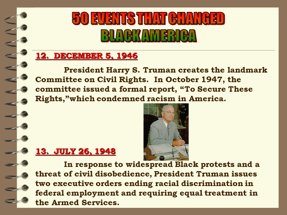 12. DECEMBER 5, 1946 President Harry S. Truman creates the landmark Committee on Civil Rights.