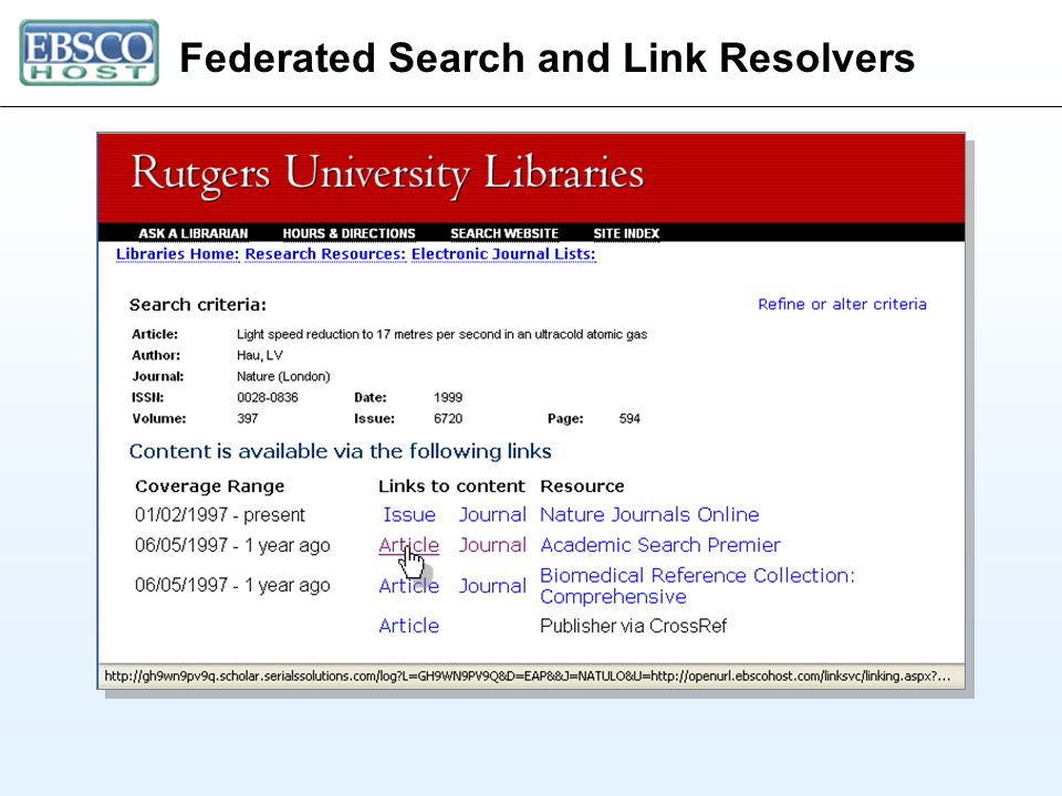 Federated Search and Link Resolvers