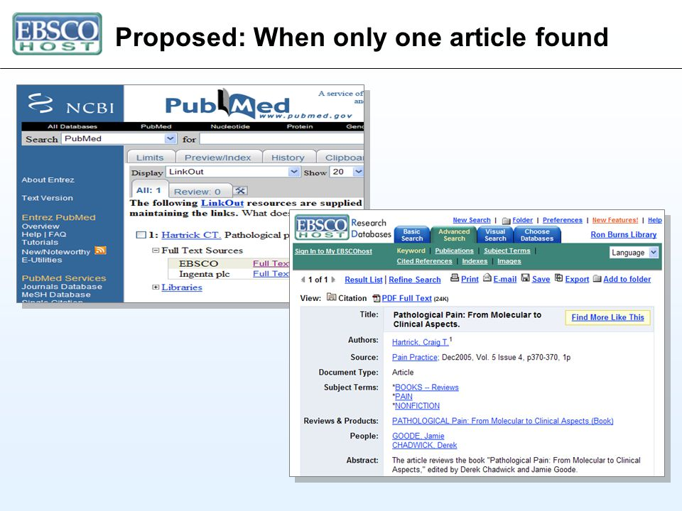 Proposed: When only one article found