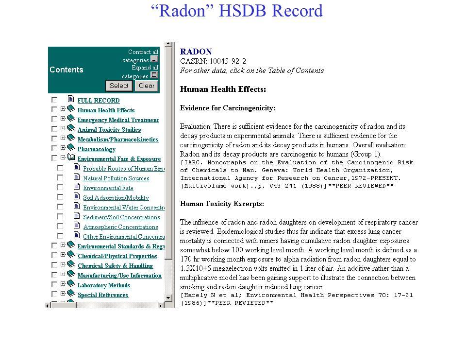 Radon HSDB Record