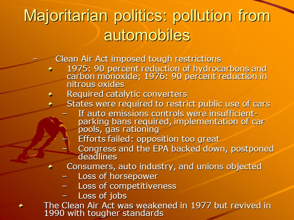 Majoritarian politics: pollution from automobiles –Clean Air Act imposed tough restrictions 1975: 90 percent reduction of hydrocarbons and carbon mono