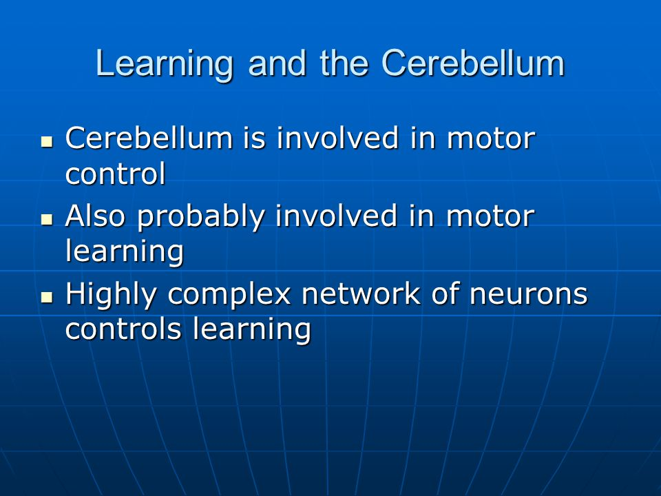 Learning and the Cerebellum Cerebellum is involved in motor control Cerebellum is involved in motor control Also probably involved in motor learning Also probably involved in motor learning Highly complex network of neurons controls learning Highly complex network of neurons controls learning