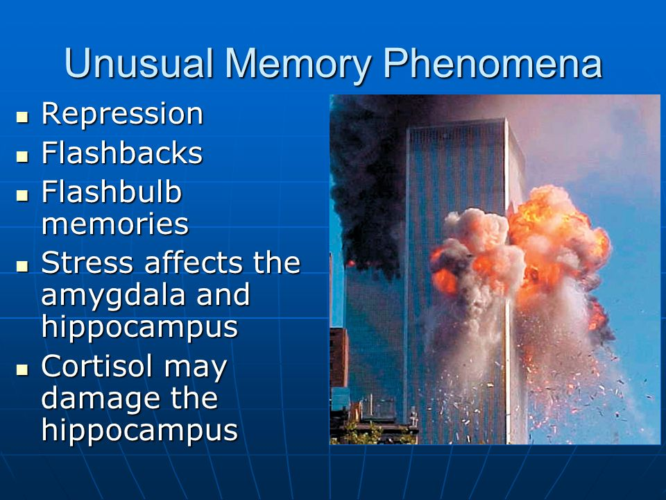 Unusual Memory Phenomena Repression Repression Flashbacks Flashbacks Flashbulb memories Flashbulb memories Stress affects the amygdala and hippocampus Stress affects the amygdala and hippocampus Cortisol may damage the hippocampus Cortisol may damage the hippocampus KHBS KHOG/AP/Wide World