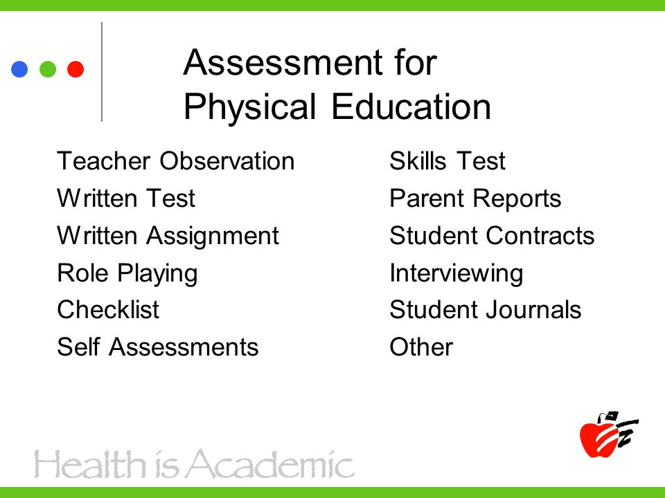 Assessment for Physical Education Teacher Observation Skills Test Written TestParent Reports Written AssignmentStudent Contracts Role PlayingInterviewing ChecklistStudent Journals Self AssessmentsOther