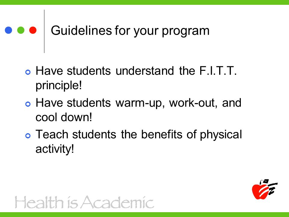 Guidelines for your program Have students understand the F.I.T.T.
