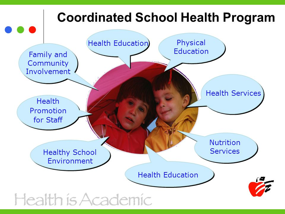 Coordinated School Health Program Physical Education Health Education Health Services Nutrition Services Health Education Healthy School Environment Health Promotion for Staff Family and Community Involvement