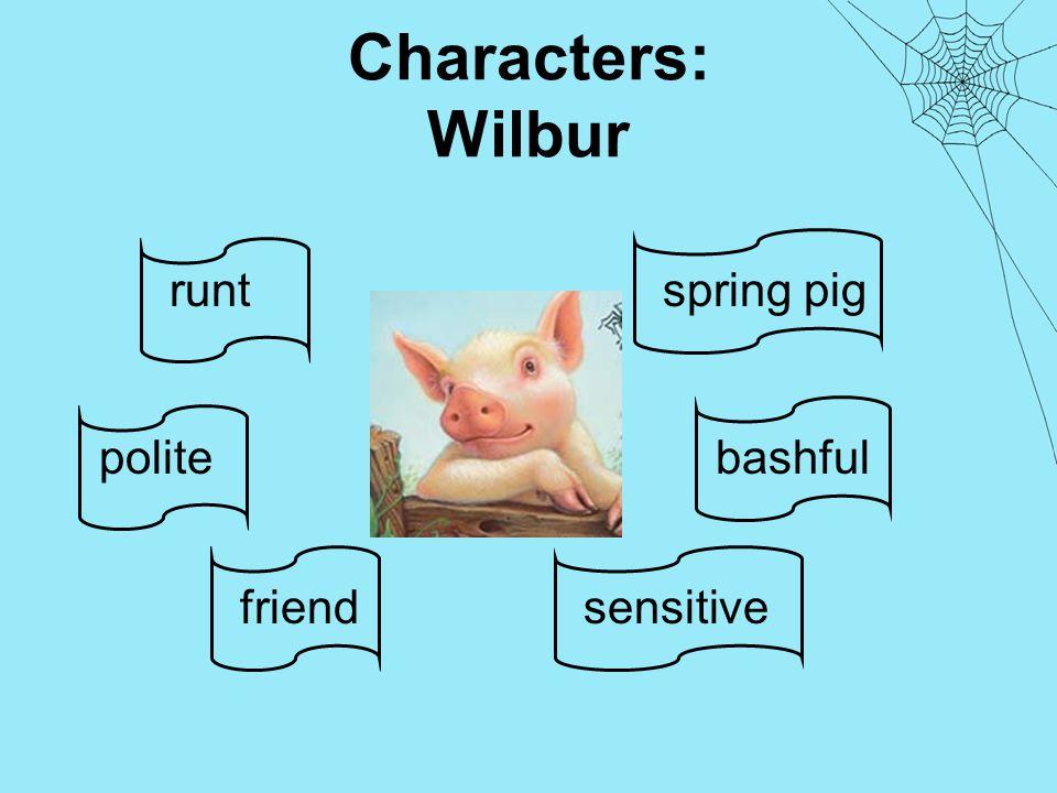 Characters: Wilbur spring pig bashfulpolite sensitive runt friend