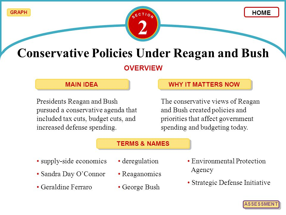2 HOME OVERVIEW Presidents Reagan and Bush pursued a conservative agenda that included tax cuts, budget cuts, and increased defense spending. The cons