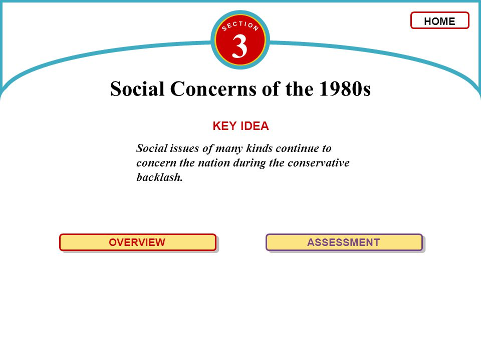 3 Social Concerns of the 1980s Social issues of many kinds continue to concern the nation during the conservative backlash. OVERVIEW ASSESSMENT KEY ID