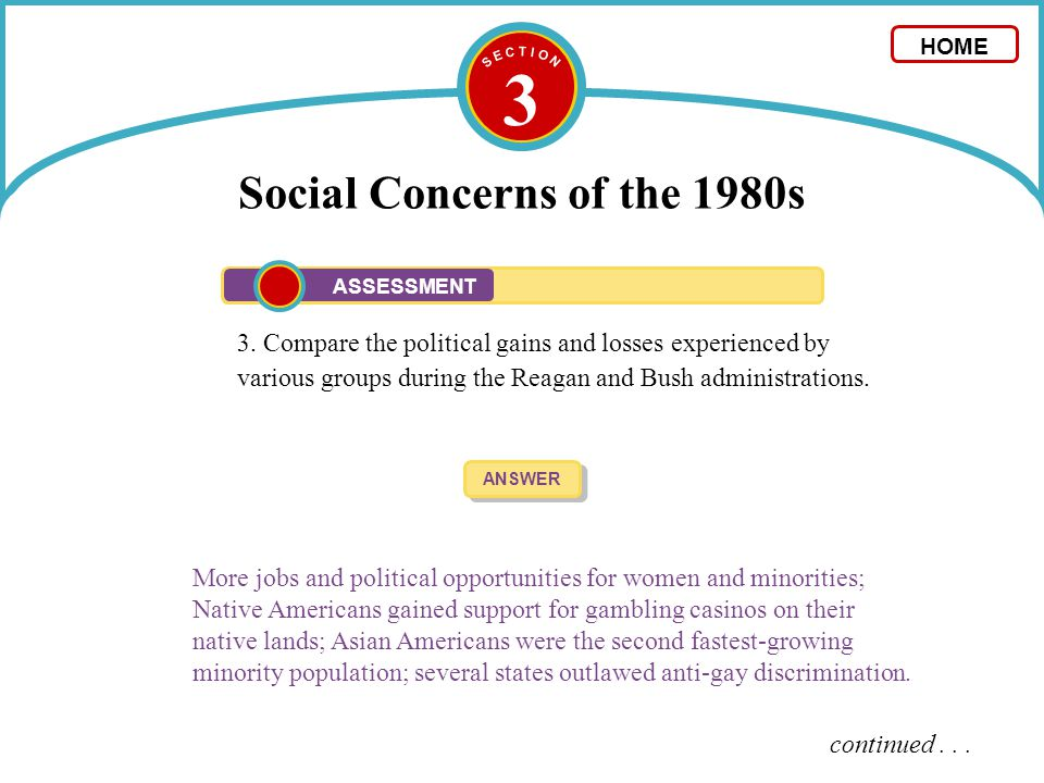 3 Social Concerns of the 1980s 3. Compare the political gains and losses experienced by various groups during the Reagan and Bush administrations. ANS