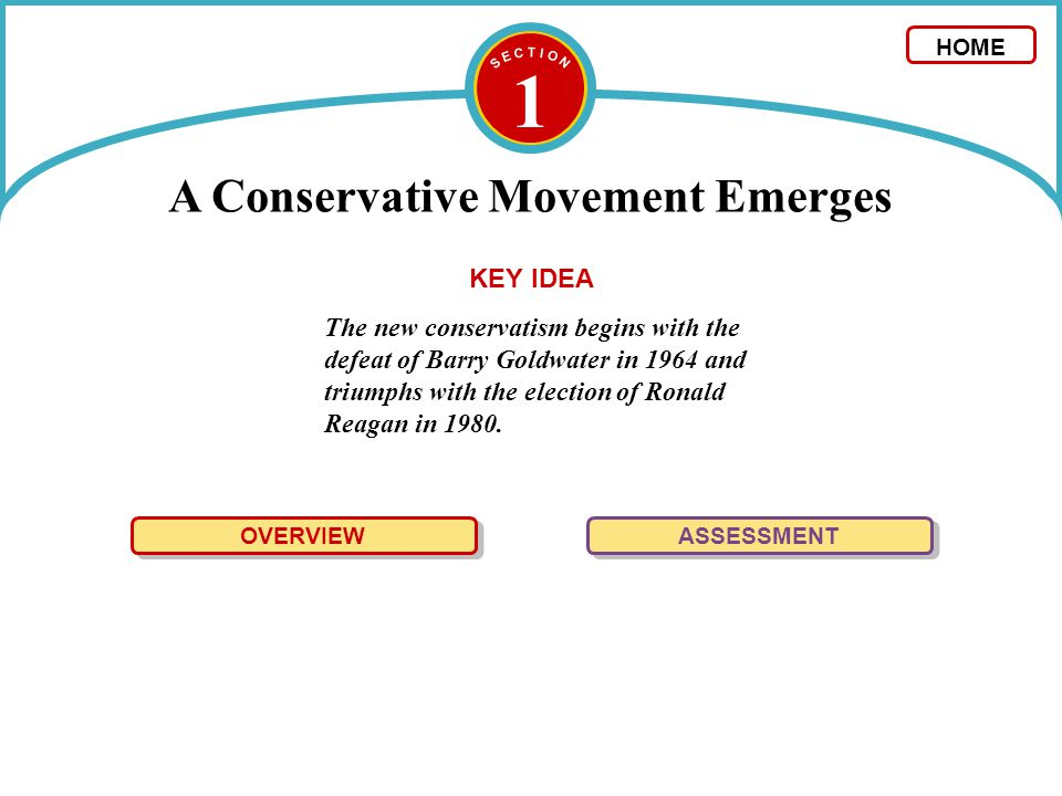 1 A Conservative Movement Emerges The new conservatism begins with the defeat of Barry Goldwater in 1964 and triumphs with the election of Ronald Reag