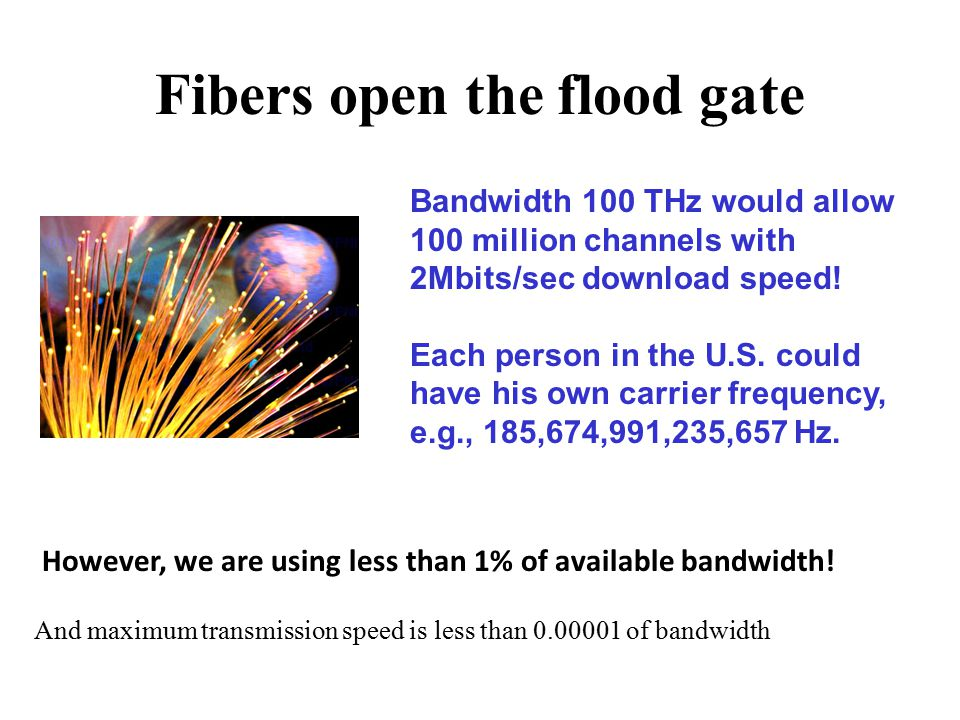 Fibers open the flood gate Bandwidth 100 THz would allow 100 million channels with 2Mbits/sec download speed.