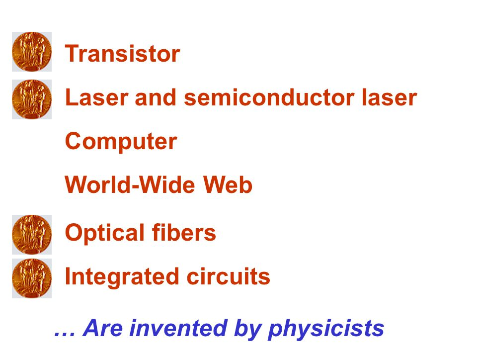 Laser and semiconductor laser Transistor Computer World-Wide Web Optical fibers … Are invented by physicists Integrated circuits