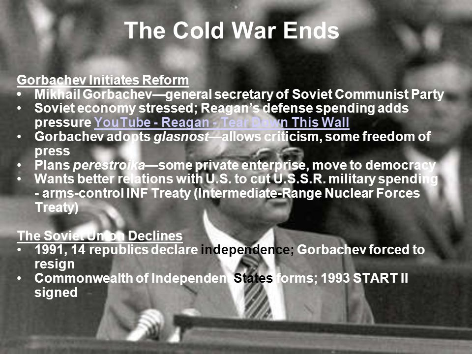 Section 4 Foreign Policy After the Cold War The end of the Cold War, marked by the breakup of the Soviet Union in 1991, leads to a redirection of many U.S.