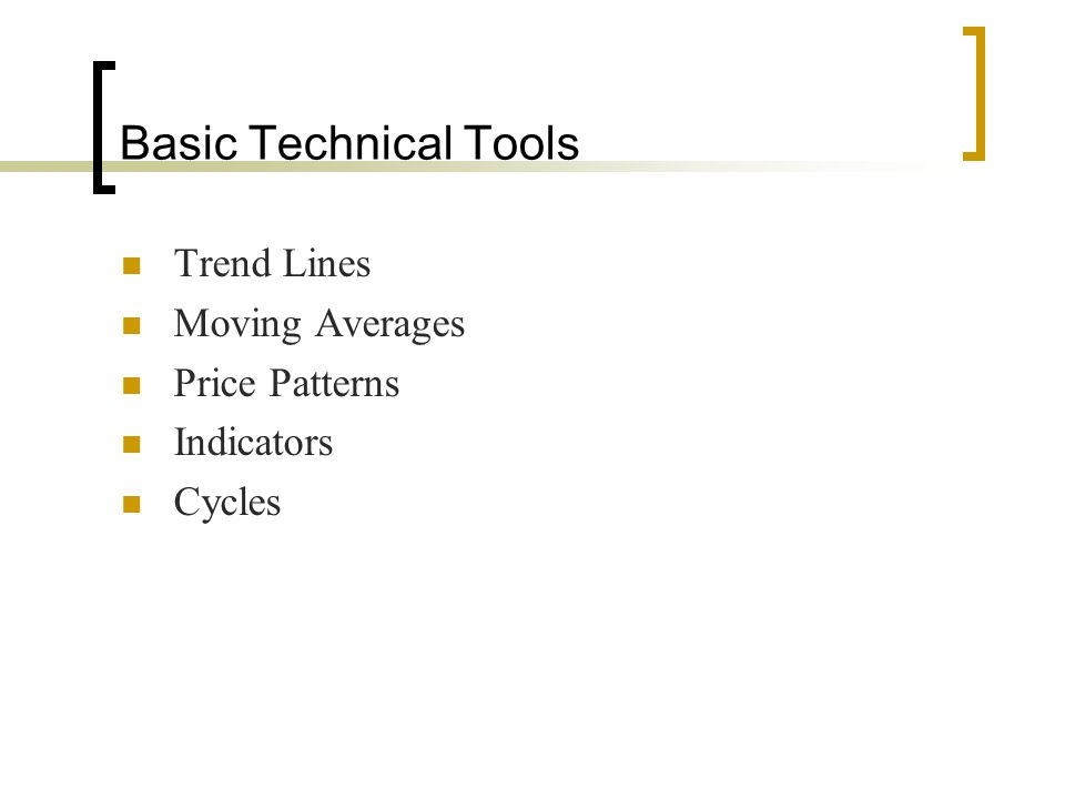Basic Technical Tools Trend Lines Moving Averages Price Patterns Indicators Cycles