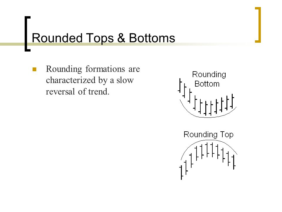 Rounded Tops & Bottoms Rounding formations are characterized by a slow reversal of trend.
