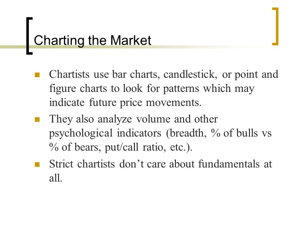 Charting the Market Chartists use bar charts, candlestick, or point and figure charts to look for patterns which may indicate future price movements.