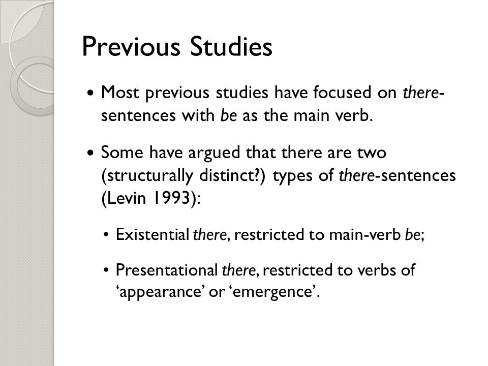 Previous Studies Most previous studies have focused on there- sentences with be as the main verb.