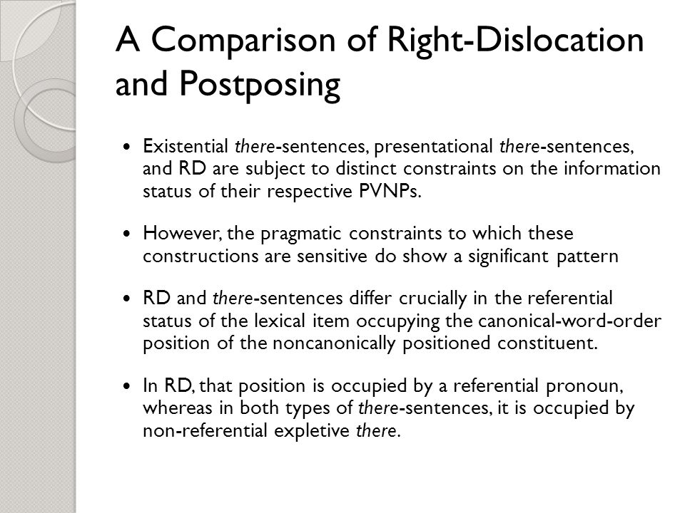 A Comparison of Right-Dislocation and Postposing Existential there-sentences, presentational there-sentences, and RD are subject to distinct constraints on the information status of their respective PVNPs.