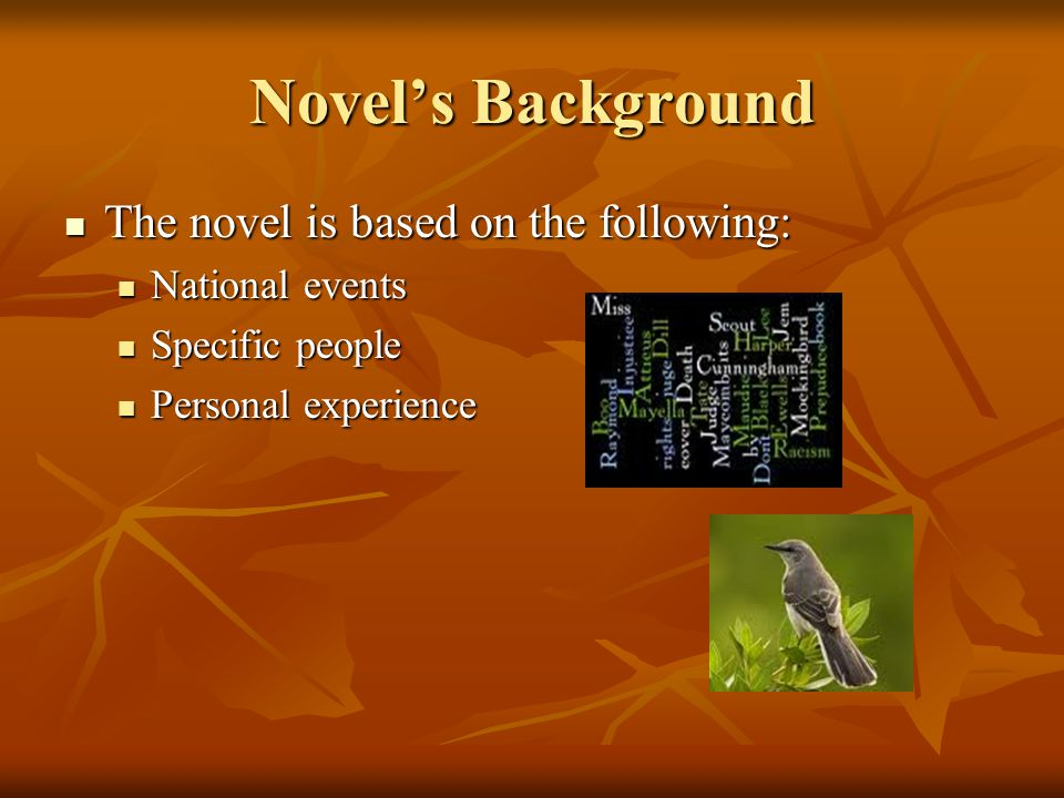 Novel's Background The novel is based on the following: The novel is based on the following: National events National events Specific people Specific