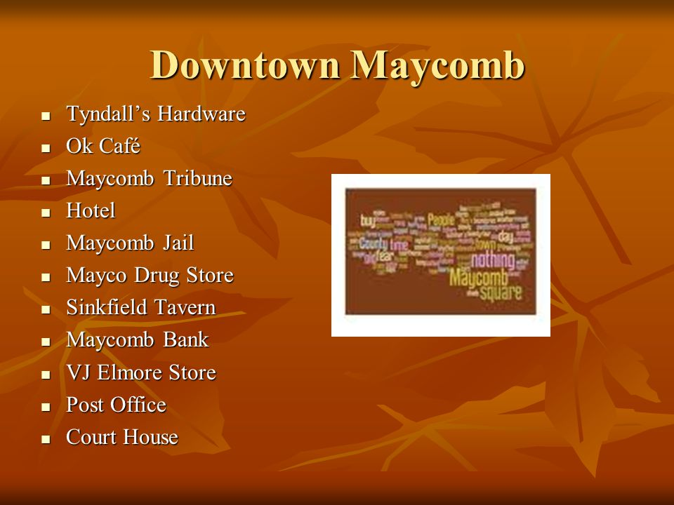 Downtown Maycomb Tyndall's Hardware Tyndall's Hardware Ok Café Ok Café Maycomb Tribune Maycomb Tribune Hotel Hotel Maycomb Jail Maycomb Jail Mayco Dru