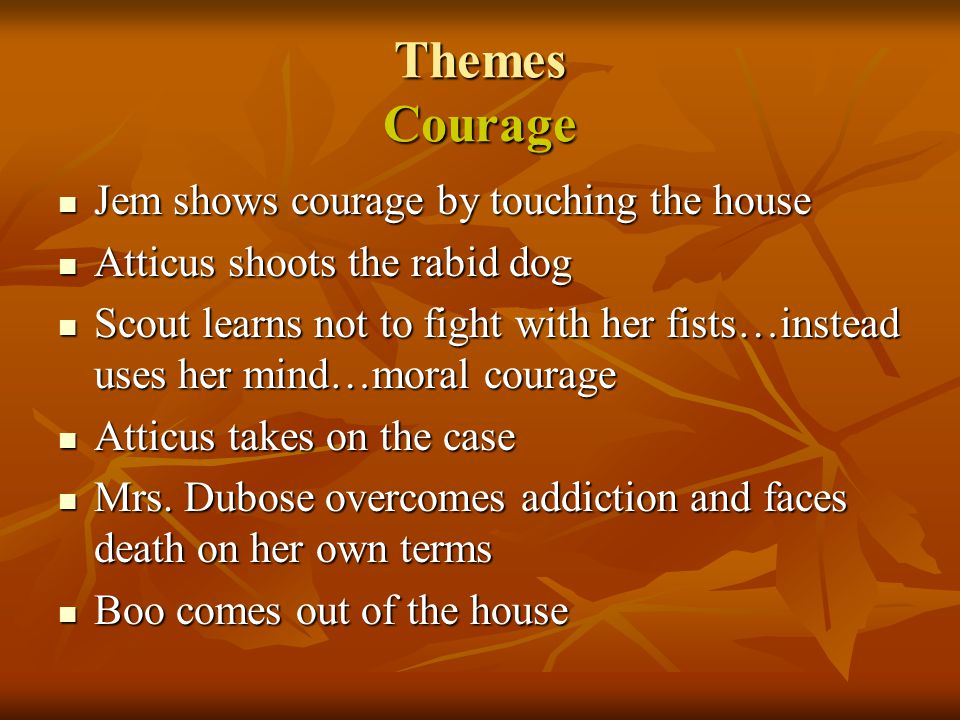 Themes Courage Jem shows courage by touching the house Jem shows courage by touching the house Atticus shoots the rabid dog Atticus shoots the rabid d