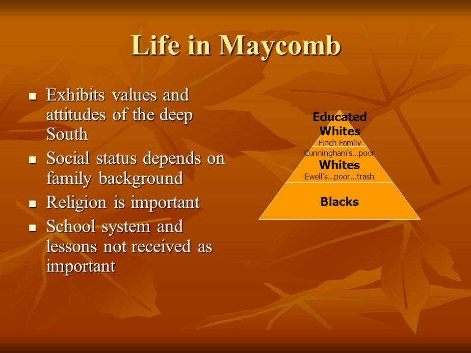 Life in Maycomb Exhibits values and attitudes of the deep South Exhibits values and attitudes of the deep South Social status depends on family backgr