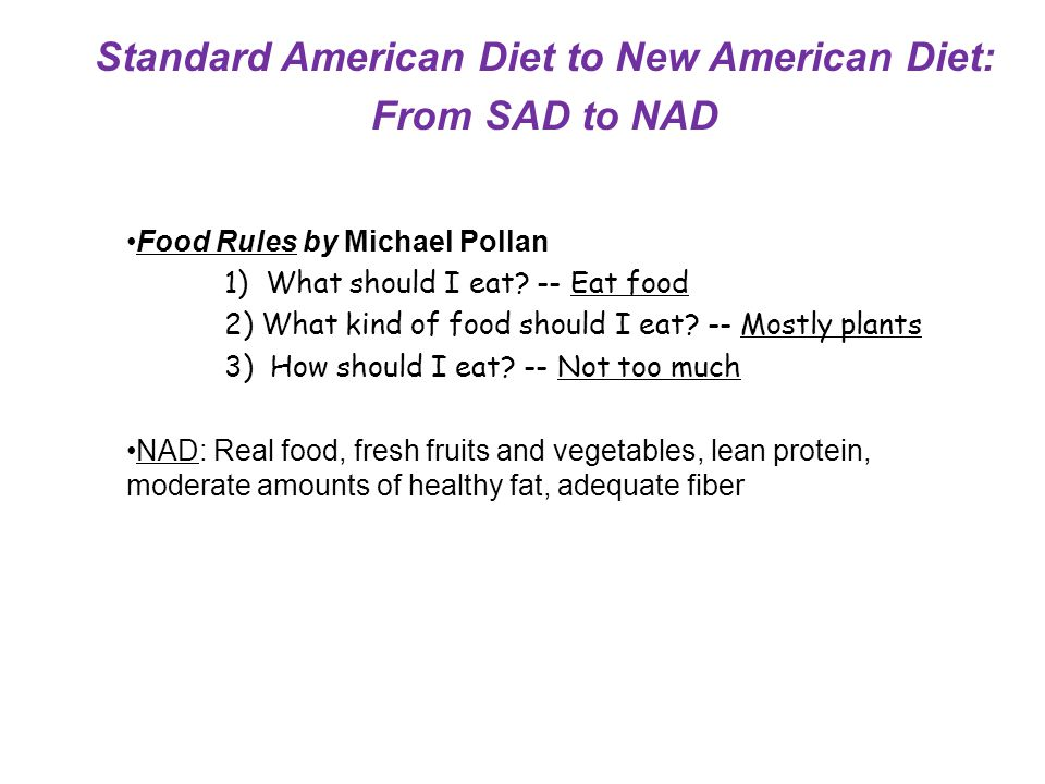 Food Rules by Michael Pollan 1) What should I eat? -- Eat food 2) What kind of food should I eat? -- Mostly plants 3) How should I eat? -- Not too muc